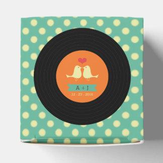 Moderne Retro Vinylaufzeichnungs-Hochzeit Geschenkkarton
