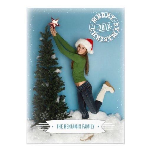 Moderne Retro Weihnachtsgruß-Foto-Karte Einladungskarten