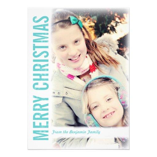 Moderne Retro Weihnachtsgruß-Foto-Karte Ankündigungen