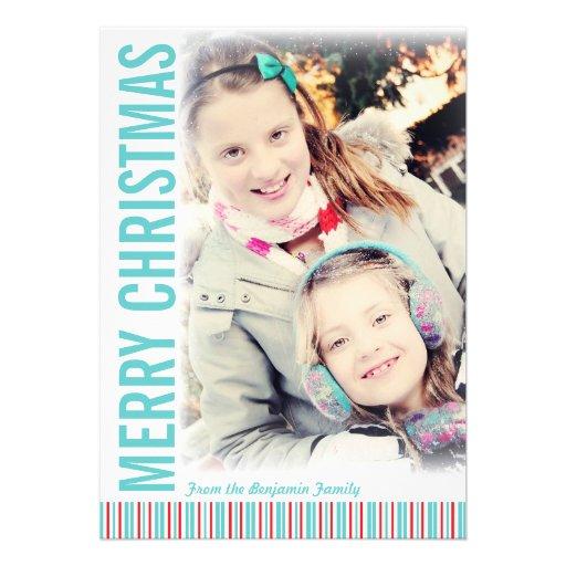 Moderne Retro Weihnachtsgruß-Foto-Karte Ankündigungskarten