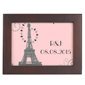 moderne rosa Vintage Paris-Hochzeit Eiffel-Turms Erinnerungsdose