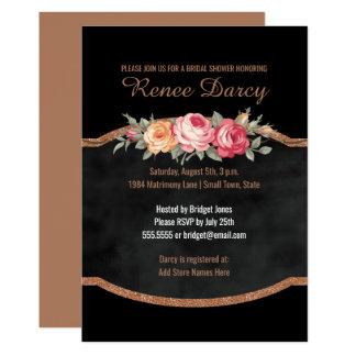 Moderne ROSEN-Goldtafel des Brautparty-| Blumen 12,7 X 17,8 Cm Einladungskarte