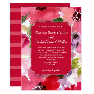 Moderne rote Aquarell-Hochzeits-mit Karte