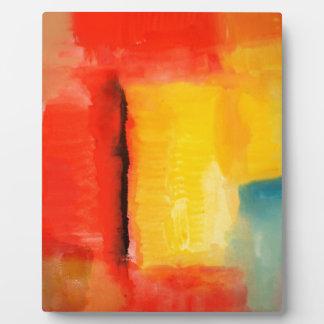 Moderne rote gelbe abstrakte Malerei Fotoplatte
