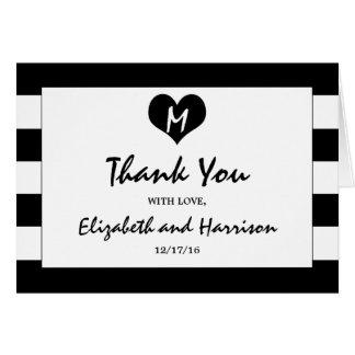 Moderne schicke Schwarzweiss-Hochzeit danken Ihnen Karte
