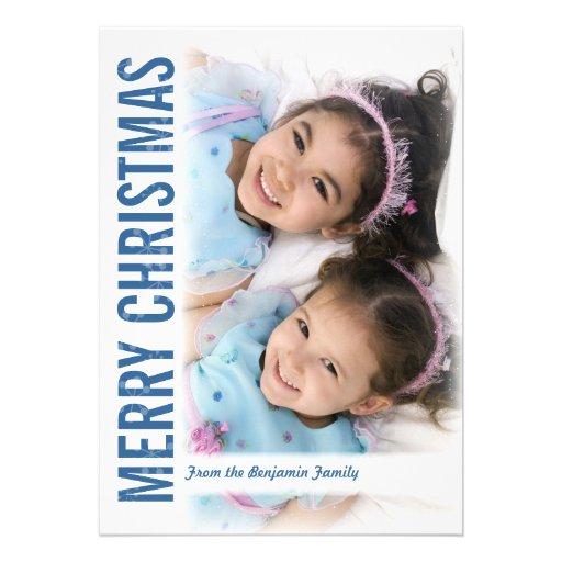 Moderne Schnee-Rahmen-Weihnachtsgruß-Foto-Karte Einladungskarte