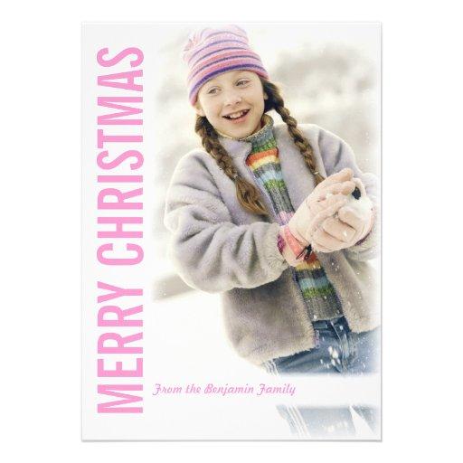 Moderne Schnee-Rahmen-Weihnachtsgruß-Foto-Karte Einladungskarten