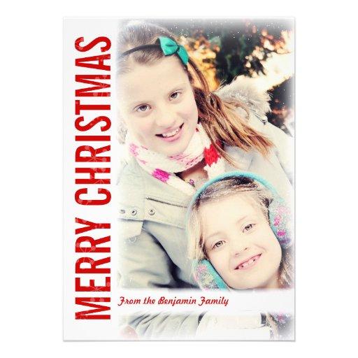 Moderne Schnee-Rahmen-Weihnachtsgruß-Foto-Karte Individuelle Einladungskarten