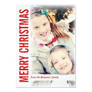 Moderne Schnee-Rahmen-Weihnachtsgruß-Foto-Karte 12,7 X 17,8 Cm Einladungskarte