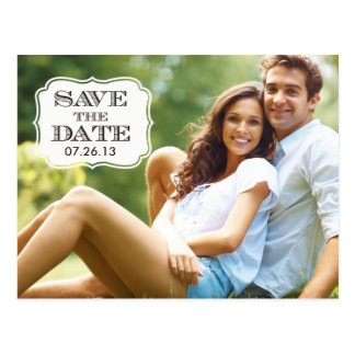 Moderne schwarze Strudel-Aufkleber-Save the Date Postkarten