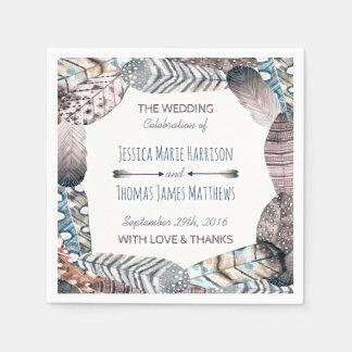 Moderne Stammes- Feder-böhmische Hochzeit Papierservietten