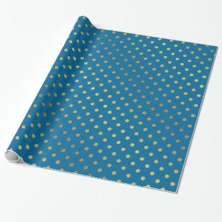 Moderne stilvolle Gold-und Königsblau-Tupfen Geschenkpapier