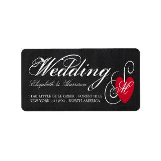 Moderne Tafel-extravagante Herz-Hochzeit Adressaufkleber