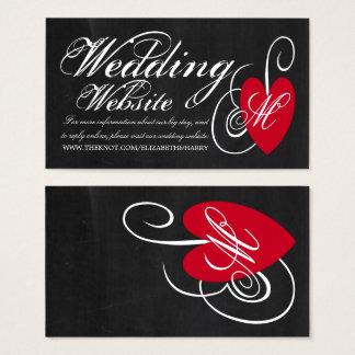 Moderne Tafel-extravagante Herz-Hochzeits-Website Visitenkarte