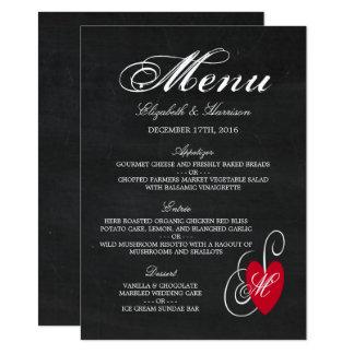 Moderne Tafel-extravagantes Herz-Hochzeits-Menü Karte