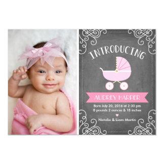 Moderne Tafel-Foto-Geburts-Mitteilung 12,7 X 17,8 Cm Einladungskarte