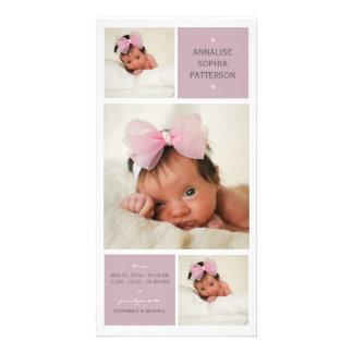 Moderne Trio-Foto-Baby-Mädchen-Geburts-Mitteilung Photo Karten Vorlage