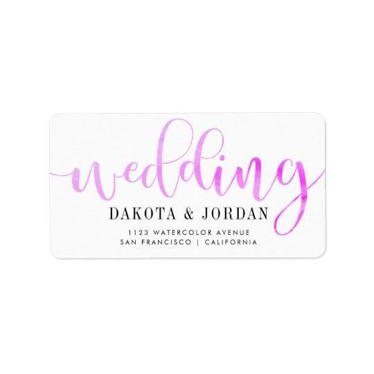 Moderne Typografie  lila Watercolor-Hochzeit Adressetikett