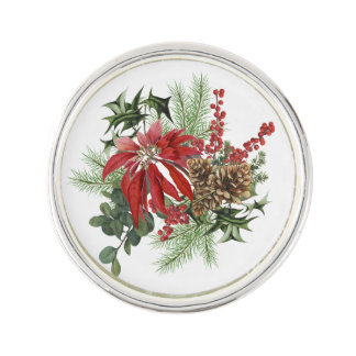 moderne Vintage Feiertagspoinsettia mit Blumen Anstecknadel