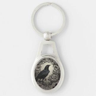 moderne Vintage Halloween-Krähe Silberfarbener Oval Schlüsselanhänger