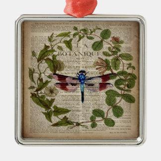 moderne Vintage Libelle des französischen Quadratisches Silberfarbenes Ornament
