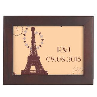 moderne Vintage Paris-Hochzeit Eiffel-Turms Erinnerungsdose