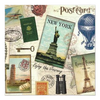 moderne Vintage Reisecollage Quadratische 13,3 Cm Einladungskarte