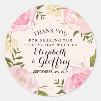 Moderne Vintage rosa Blumenhochzeit danken Ihnen Runder Aufkleber