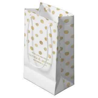 Moderne Weiß-u. Goldpolka-Punkt-Gastgeschenk Kleine Geschenktüte
