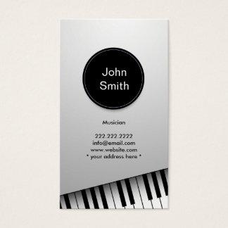 Moderne weiße Jazz-Pianist-/Musiker-Visitenkarte Visitenkarten