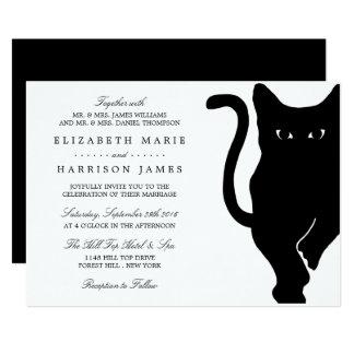 Moderne wunderliche schwarze Katzen-Hochzeit Karte
