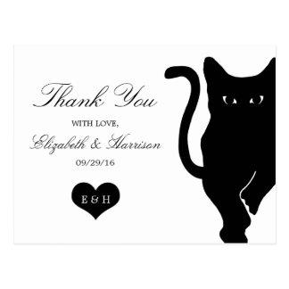 Moderne wunderliche schwarze Katzen-Hochzeit Postkarte