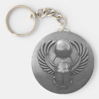 Moderner ägyptischer Scarabäus Standard Runder Schlüsselanhänger