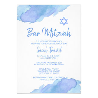 Moderner blauer Watercolor-Davidsstern BAR MITZVAH Karte