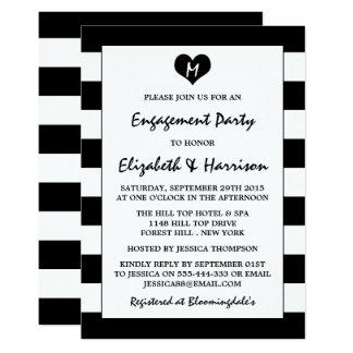 Moderner Chic-schwarzes u. weißes Verlobungs-Party 12,7 X 17,8 Cm Einladungskarte