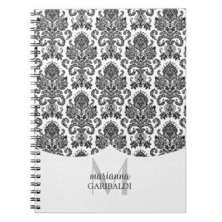 Moderner Damast-Schwarzweiss-personalisiertes Notiz Buch
