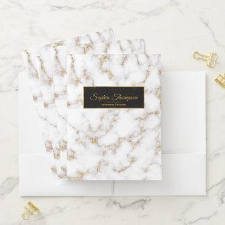 Moderner eleganter weißes Goldmarmor - Bewerbungsmappe