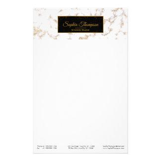 Moderner eleganter weißes Goldmarmor-Name - Briefpapier