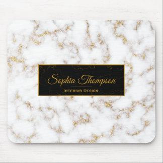 Moderner eleganter weißes Goldmarmor-Name - Mousepad