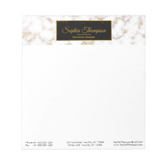 Moderner eleganter weißes Goldmarmor-Name - Notizblock