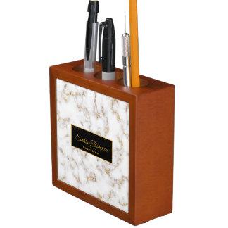 Moderner eleganter weißes Goldmarmor - Stifthalter