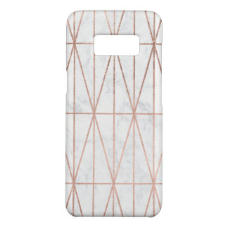Moderner geometrischer Dreieck-Rosengoldweißmarmor Case-Mate Samsung Galaxy S8 Hülle