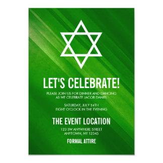 Moderner grüner Grunge-Bar Mitzvah Empfang Karte