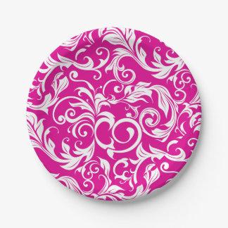 Moderner magentaroter rosa Blumentapeten-Strudel Pappteller