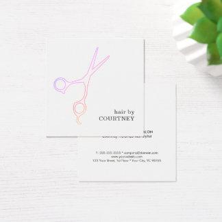 Moderner minimaler rosa weißes Haar-Stylist Quadratische Visitenkarte