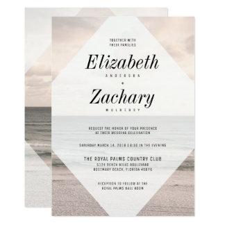 Moderner Strand-Hochzeits-Diamant Karte