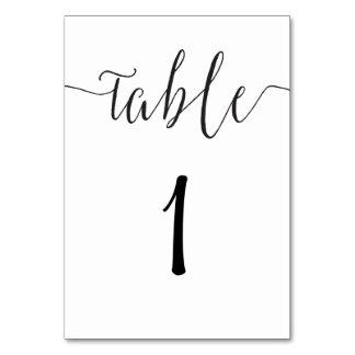 Moderner Tischnummerkartenskript-Hochzeits-Empfang