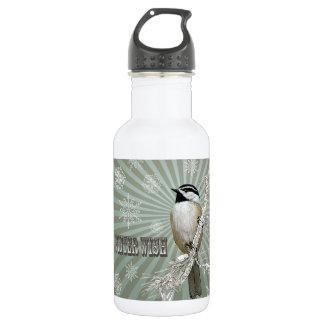 moderner Vintager Winterwaldchickadee Trinkflaschen