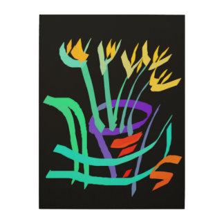 Modernes abstraktes noch Lebens-gelbe eingemachte Holzwanddeko