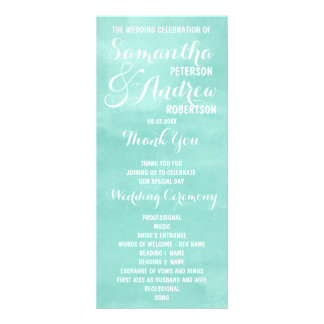 Modernes Aquagrün-Aquarell Hochzeits-Programm Werbekarte